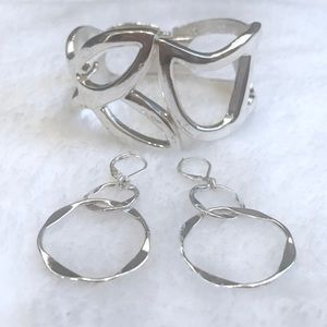 Jewelry - Silver Earrings & Bangle Bracelet Set